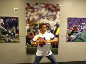 Dallas Cowboys fan Steve Venezia imitates his favorite Cowboys alumni quarterback Troy Aikman during Monday Night Football. Mandatory Credit - Matt Thornton