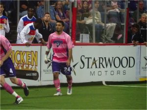 Dallas Sidekick Shaun David vs Missouri Comets MASL opening night at Allen Event Center in Dallas, Texas October 25, 2014 - Mandatory Credit Matt Thornton
