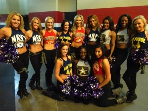 Dallas Sidekicks Dancers wear armed services themed uniforms on military appreciation night.  Mandatory Credit - Matt Thornton Dallas Entertainment Journal