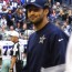 Dallas Cowboys quarterback Tony Romo watches as his team is defeated by the Arizona Cardinals November 1, 2014 - Mandatory Photo Credit Matt Thornton