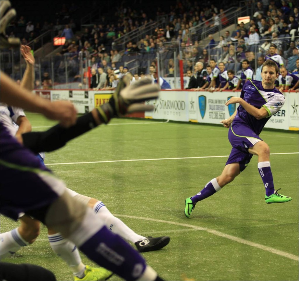 Dallas Sidekicks Forward Cameron Brown Scores First Professional Hat Trick vs Tulsa Revolution December 14, 2014. Mandatory Photo Credit Cherie Callaway