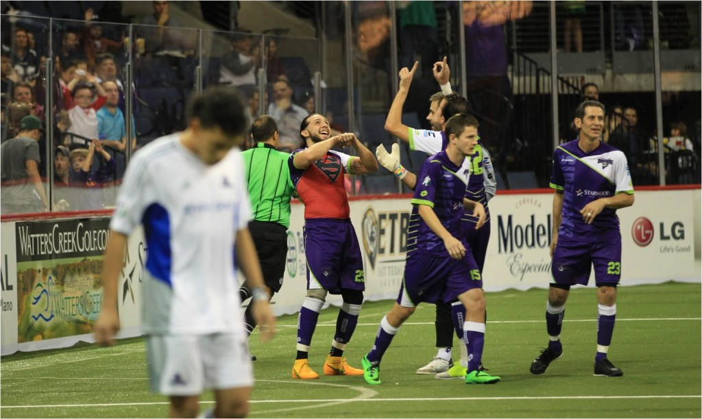 Dallas Sidekicks Forward Nestor Hernandez Celebrates His First Goal After Returning From Injury.  Mandatory Photo Credit Cherie Callaway