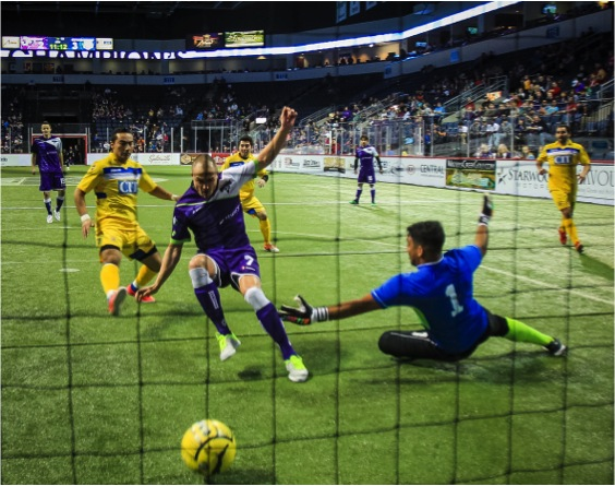 Dallas Sidekicks Forward Freddy Moojen scores his 35th goal against Saltillo Rancho Seco on January 31, 2015. Mandatory Photo Credit - Cherie Callaway