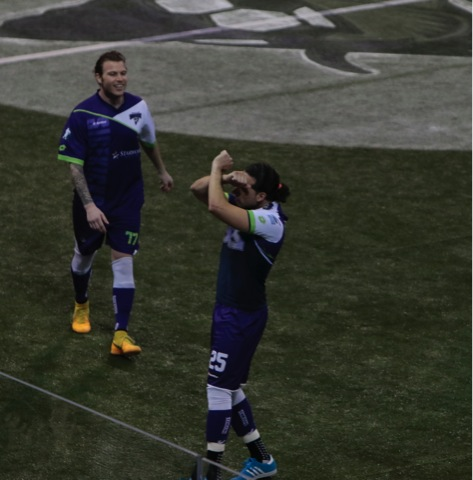 Dallas Sidekicks forward Nestor Hernandez pays homage to Dallas Cowboys Dez Bryant Throw Up The X after scoring. Mandatory Photo Credit - Tyler Lyons
