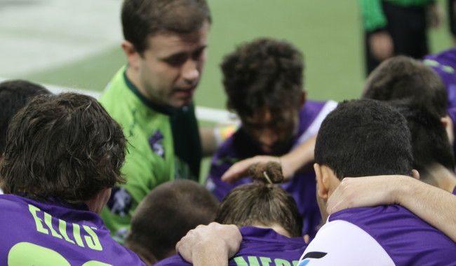 The Dallas Sidekicks huddle up in a game against the Monterrey Flash on Saturday February 21, 2015. Mandatory Photo Credit Mike Perry