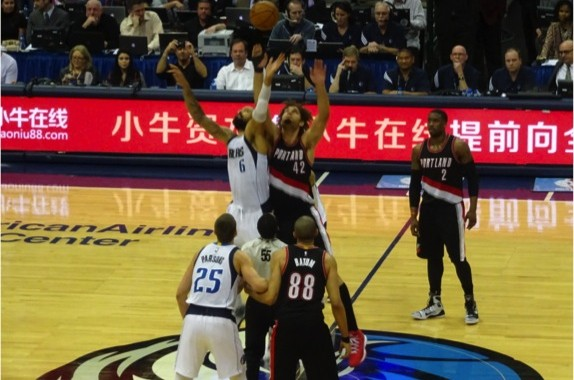 Dallas Mavericks Center Tyson Chandler battles Portland Trail Blazers Center Robin Lopez for the Tipoff Saturday February 7, 2015.  Mandatory Photo Credit - Matt Thornton
