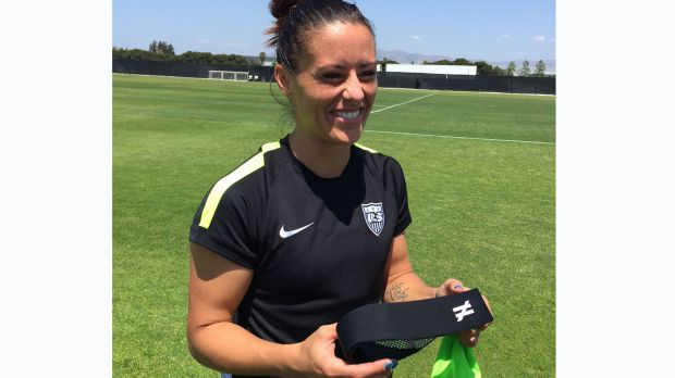 Ali Krieger of the US Women's National Soccer Team wears an Unequal HALO to protect against concussions.