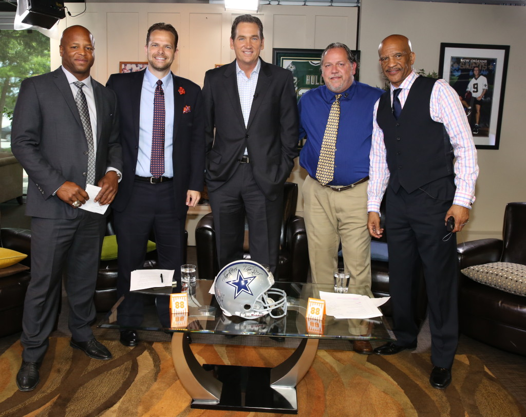 Drew Pearson Live Dallas Cowboys 2015 Draft Panel with (left to right) Larry Centers, Matt Thornton, Brady Tinker, Jim Proctor, Drew Pearson May 6, 2015. Mandatory Photo Credit John Breen.