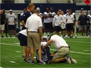 Dallas Cowboys WR Terrance Williams Injured During Minicamp June 18, 2015. Mandatory Photo Credit Matt Thornton