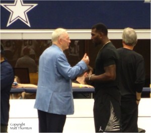 Dallas Cowboys Owner Jerry Jones speaks with WR Dez Bryant on sidelines at minicamp June 18, 2015. Mandatory Photo Credit Matt Thornton
