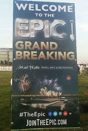 Event poster welcoming all guest attending the groundbreaking event on October 17th at Central Park in Grand Prairie